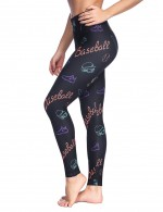 Dazzles Black Full Length Brushed Tights Sports Print Young Style