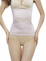 Flexible Light Pink Crossover Waist Cincher 2 Steel Bones Slim