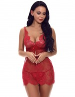 Comfortable Wine Red Backless Babydoll Cut Out Ribbon Lace