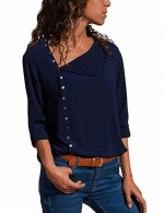 Passionate Asymmetric Button Navy Blue Shirt Long Sleeve Weekend
