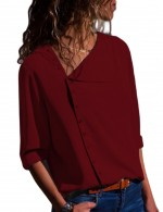 Flirting Wine Red Loose Fit Blouses Irregular Neckline Comfort