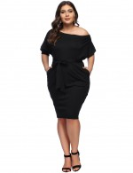 Black Large Bodycon Dress Bat Sleeve Slope Shoulder Ladies Fashion