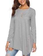 Alluring Lace Stitching Shirt Long Sleeve Women Outfit Grey