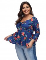 Affordable 3/4 Sleeves Big Floral Top Bow For Women Sapphire Blue