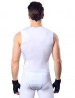 Breathable White Mens Tight Round Neck Tank Tops Fashion Trend