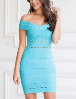 Blue Fascinating V Neck Bandage Hollow Out Dress Luscious Curvy