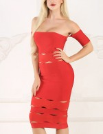 Fitness Midi Length Bandage Dress Cut Out Sexy Ladies Red