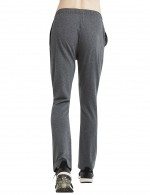 Lavish Dark Gray Straight-Leg Pants Pure Cotton Drawstring Comfort Fit