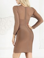 Amazing Brown Handcraft Mesh Long Sleeve Bandage Dress Home Dress