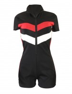 Effective Black Big Size Stitching Shorts Jumpsuits Stripes Sale Online