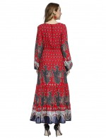Sheath Red Print Maxi Dresses Pleated Lantern Sleeves Dress