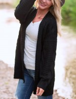 Black Knitting Large Size Cardigans Full Sleeves Weekend Time