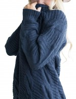 Cozy Navy Blue Plus Size Sweater Cardigan Solid Color Women's Tops