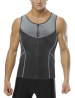 Glam Grey Queen Size Mens Neoprene Shaper Vest Patchwork High Power