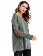 Functional Green Side Button Sweatshirt Pure Color Breathable