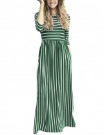 Nicely Army Green Round Neck Maxi Striped Dresses Forward Women