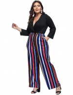 Adoring V Neck Striped Patchwork Jumpsuits Plus Size
