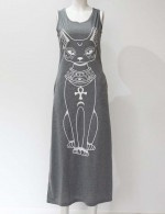 Formal Grey Cat Pattern Maxi Dress Queen Size Soft