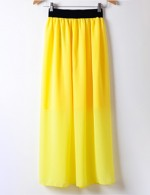 Super Sexy Yellow Long Skirt Plain Color Elastic Waist Leisure Fashion