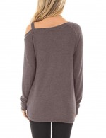 Comfy Brown Front Twist Sweatshirts Long-Sleeved Fashion