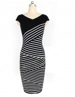 Liberty Plus Size Striped Sleeveless Pencil Dress Mini Patchwrok Elasticity