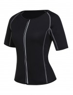 Contouring Sensation Black Short Sleeve Big Size Neoprene Luminous Zip Shaper