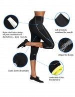 Thermo Heating Black Stretchy Waistband Pocket Neoprene Leggings Big Size Enhancer