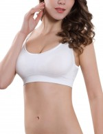 Stretch White Scoop Neck Nursing Bra For Woman