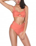 Scintillating Orange Cut Out Cross Free Wire Bikini Fashion Insider