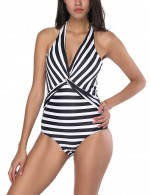 National Style Plunge Neck Stripes Front Twist Swimsuit Casual Online
