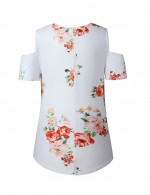 Bright White Cut Out Short Sleeves Blouses Flower Print Fashion Forward