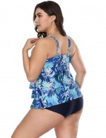 Lovable Blue Wireless Big Size Layered Flower Swimsuit For Women Online