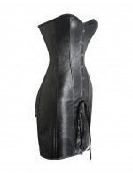Abdomen Control Black PU Floral Pattern Leather Strapless Corset Dress
