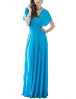 Soft Water Blue Baring Back Deep V Neck Formal Gowns High Rise