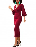 Attractive Wine Red Puff Sleeves Boycorn Dress V-Neckline Zip Back