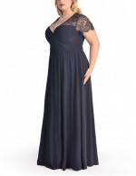Large Navy Blue Drapery Hem Maxi Dress Eyelash Lace Short Sleeves