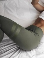 Elastic Army Green Mid Waisted Yoga Gummed Tights Super Sexy