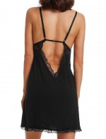 Valuable Black Hemline Bow Chemises Backless Big Size Lace Breathable