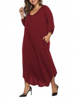 Comfort Wine Red Large Size V Neckline Jumpsuit 3/4 Sleeves Classic Fashion