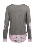 Funny Grey Floral Print Long Sleeves Shirts Stitching Fashion Shopping