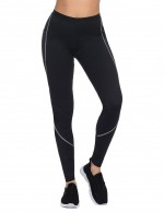 Instant-Slimmer Black Plus Size Neoprene Stitching Shaping Pants Pocket