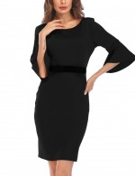 Black Crew Neck Mini Bodycon Dress Trumpet Sleeves Good Elasticity