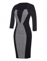 Charming Grey Large Size Midi Bodycon Dresses Long Sleeve Quality Assured