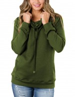 Comfy Army Green Sweatshirt High Collar Drawstring Pockets Fashion