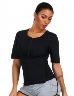 Classic Black Queen Size Zipper Neoprene Shaper Top Weekend Fashion