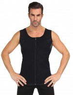 Waist Control Black Men's Neoprene Slimmer Printed Vest Zip Closure Midsection Control