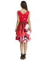 Contouring Sensation Red Queen Size Christmas Skater Dress Sleeveless Stretch