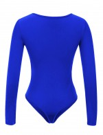 Fitted Sapphire Blue Large Size Bodysuit Snap Button Zipper Feminine