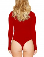 Stretch Red Solid Color Bodysuit Queen Size Long Sleeves Quality Assured