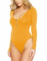 Angel Yellow Plus Size Scoop Collar Bodysuit Snap Button Ultra Cheap